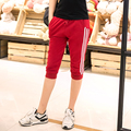 Women Sport Pants 2016 Summer Casual Cotton Joggers Harem Pants Female Trousers Side Stripes Loose Capris Femme Pantalones Mujer