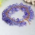 Cute Fashion Multilayer Amethyst Bracelet Bangle Crystal Friendship Jewelry Ladies For Women Girl Gift Gold Plated Turkish