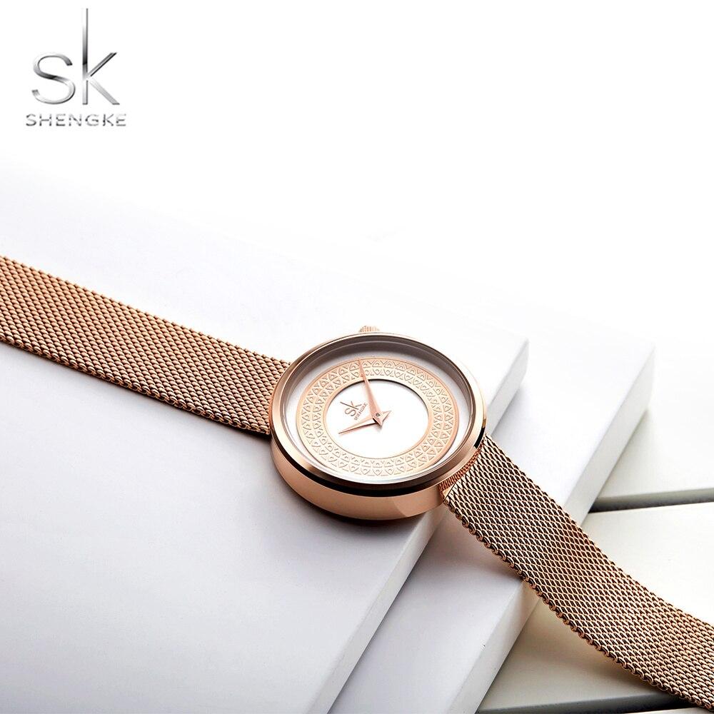 Shengke Women Watches Fashion Clock Vintage Design Ladies Watch Luxury Brand Classical Gold Zegarek Damski Female Hour 2019 New