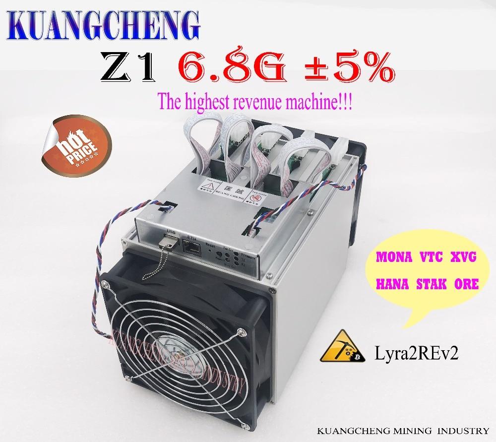 World's Most Earnings Higher Lyra2REv2 ASIC Miner Zig Z1 Hashrate 6.8GH/S MONA VTC HADC Better Than Antminer S9 S7 L3 Z9 Mini