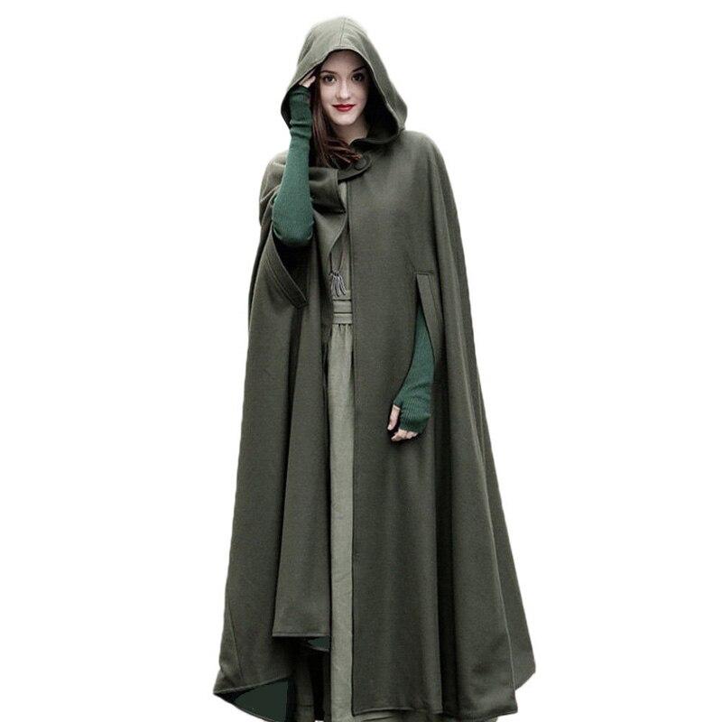 2017 Winter Cloak Hooded Coat Women Vintage Gothic Cape Poncho Coat Medieval Victorian Warm Long Cape
