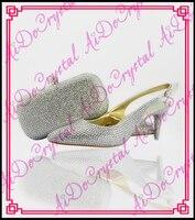 Aidocrystal slingback yaz ayakkabı seksi yüksek topuklu gümüş kristal yavru topuk kadınlar için İtalyan eşleşen ayakkabı ve çanta parti