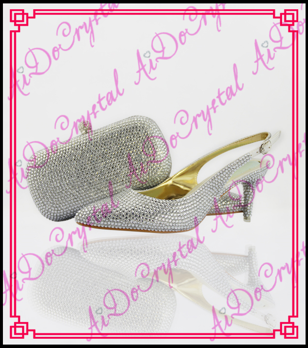 Aidocrystal slingback summer shoes sexy high heels silver crystal kitten heel women italian matching shoes and bags for party