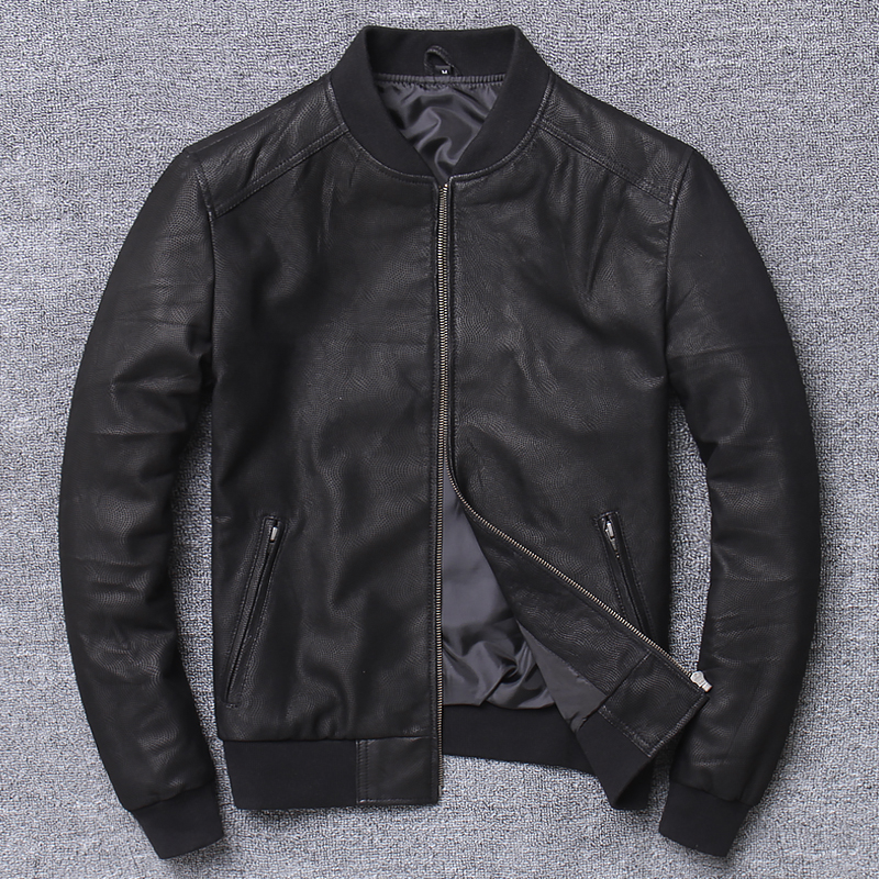 YR!Free Shipping.sales.Brand New Casual Style Leather Jacket.men Slim Sheepskin Coat.quality Soft Slim Bomber Jacket.baseball