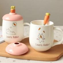Radish Rabbit Ceramic Cup Heat-resistant Color Cartoon With Lid Milk Coffee Mug Children Office Gifts