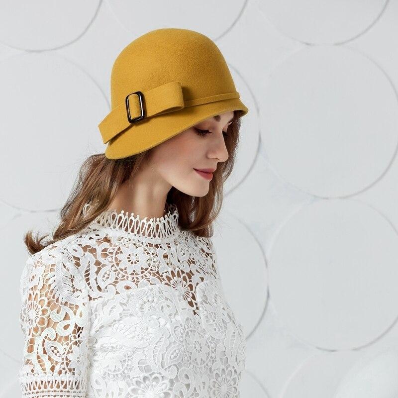 Elegante negro Vintage lana fieltro Fedora sombrero mujer ala ancha  invierno Bowknot sombreros novedad lana Floppy Cloche Cap B-7432 4b01e0f0077