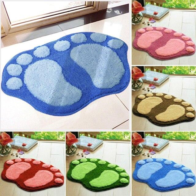 Hot Sale Solid Feet Pattern Mats Bathroom Kitchen Carpets Waterproof Floor  Mat For Living Room Anti Part 82