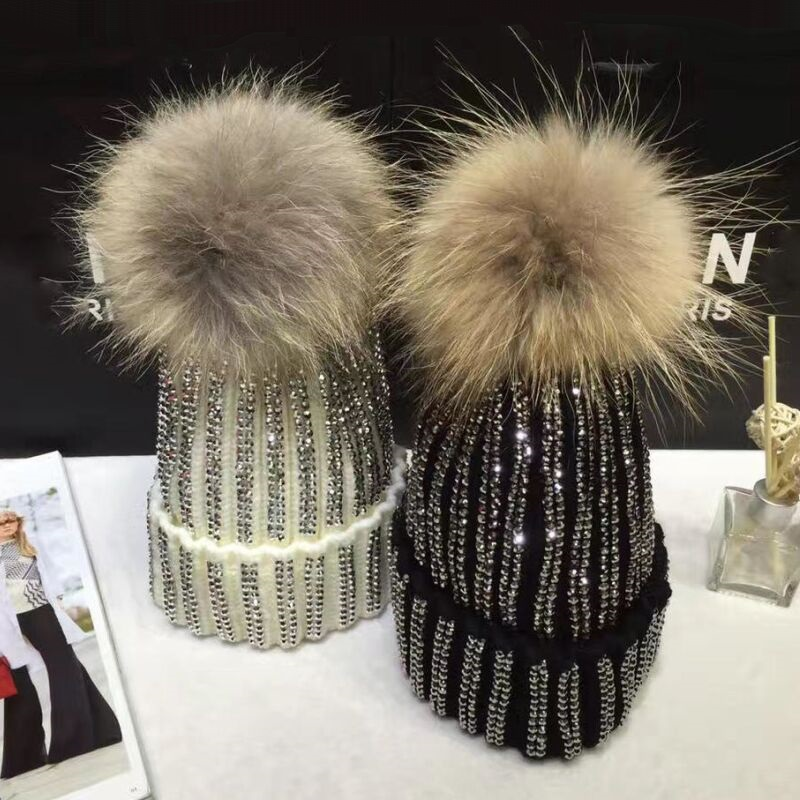 KNB013 Removable Winter Warm Fur Pom pom Knitted Hats Women Handmade Striped Rhinestone Bones   Skullies     Beanie   With 15cm Fur Ball