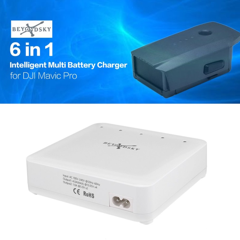 Beyondsky 6 in 1 Intelligent Battery Multi Charger for DJI Mavic Pro Transmitter Phone RC Drone Quadcopter Quick Charging цены