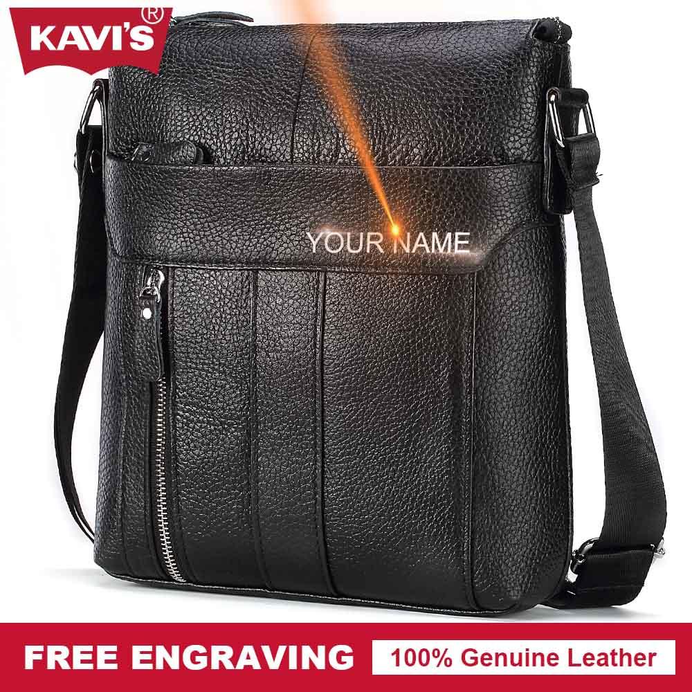 KAVIS Genuine Cow Leather Messenger Bag Men Shoulder Crossbody Handbag Bolsas Sac Party Sling Chest For Briefcase Male Hand Flap casual canvas satchel men sling bag