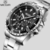 MEGIR Top Luxury Brand Watch Men Analog Chronograph Quartz Wrist Watch Full Stainless Steel Band Wristwatch
