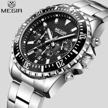 MEGIRนาฬิกาสุดหรูนาฬิกาผู้ชายAnalog Chronographนาฬิกาข้อมือควอตซ์สแตนเลสสตีลนาฬิกาข้อมืออัตโนมัติวันที่