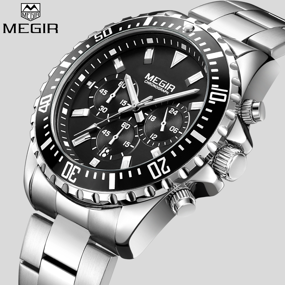 MEGIR Top Luxury Brand Watch Men Analog Chronograph Quartz Wrist Watch Full Stainless Steel Band Wristwatch Auto Date