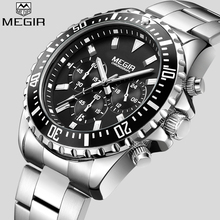 MEGIR Top Luxury Brand Watch Men Analog Chronograph Quartz Wrist Watch Full Stainless Steel Band Wristwatch Auto Date super speed v0155 bl stainless steel silicone band men s quartz analog wirst watch black blue
