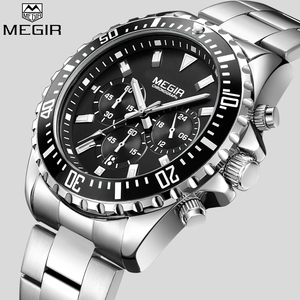 Image 1 - MEGIR Top Luxury Brand Watch Men Analog Chronograph Quartz Wrist Watch Full Stainless Steel Band Wristwatch Auto Date