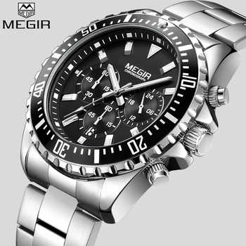 MEGIR Top Luxury Brand Watch Men Analog Chronograph Quartz Wrist Watch Full Stainless Steel Band Wristwatch Auto Date - DISCOUNT ITEM  48% OFF All Category