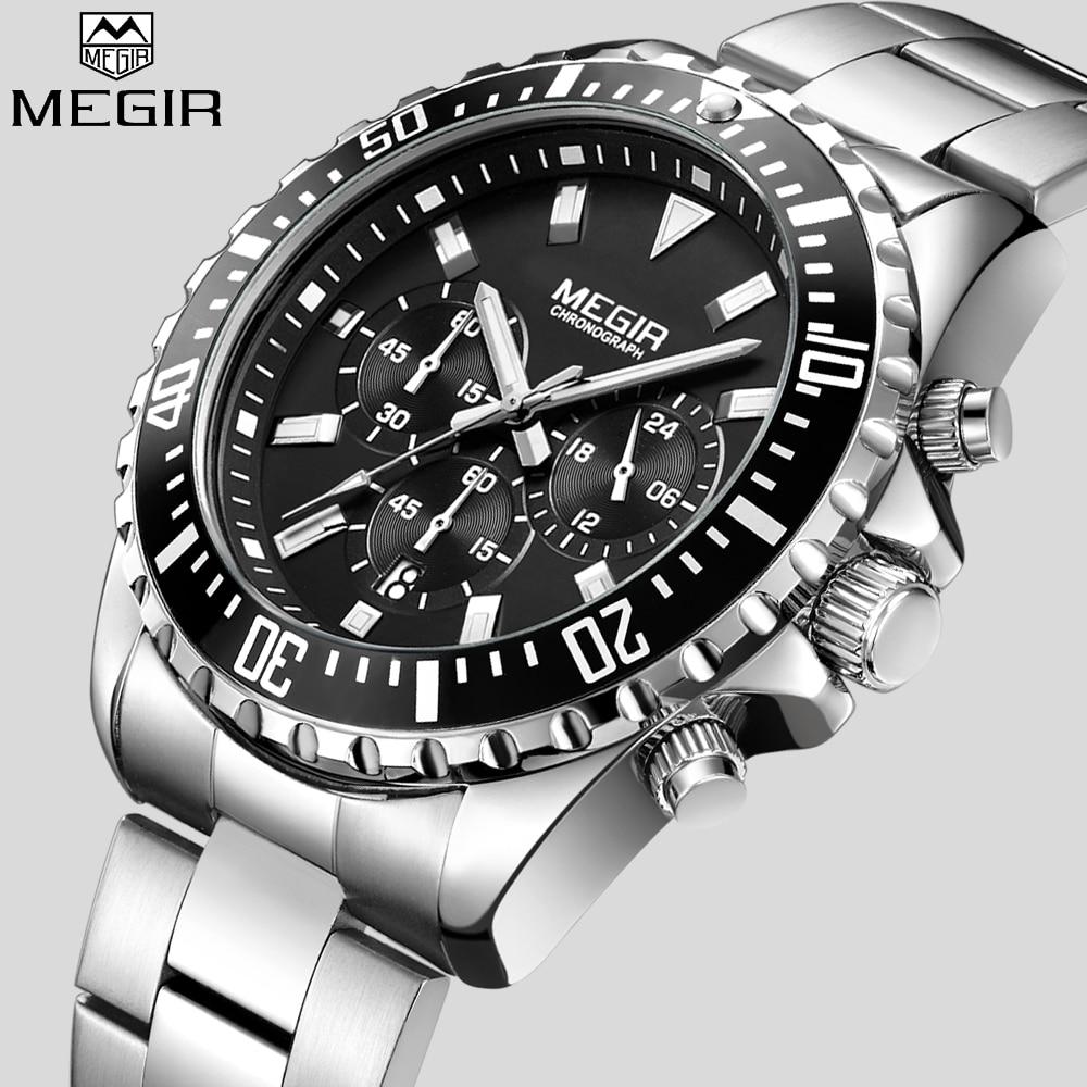 MEGIR Top Luxury Brand Watch Men Analog Chronograph Quartz Wrist Watch Full Stainless Steel Band Wristwatch Auto Date
