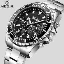 MEGIR montre bracelet analogique chronographe analogique pour hommes, entièrement en acier inoxydable, Date automatique