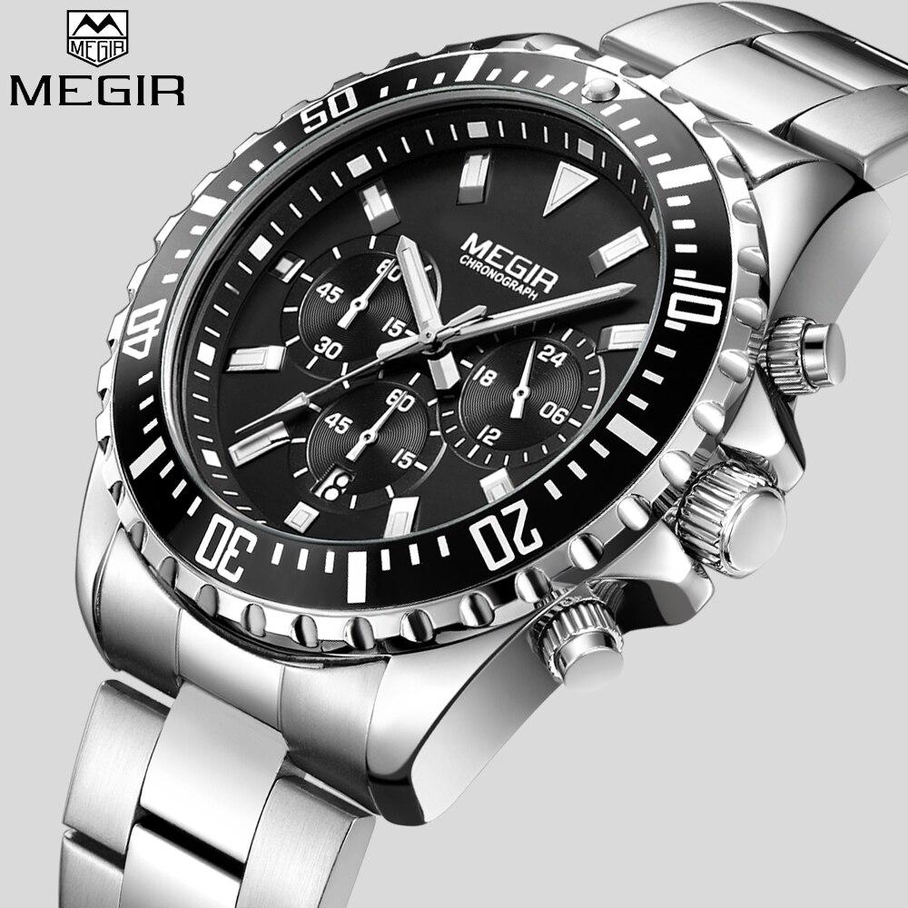 Reloj de pulsera de cuarzo cronógrafo analógico para hombre marca de lujo MEGIR