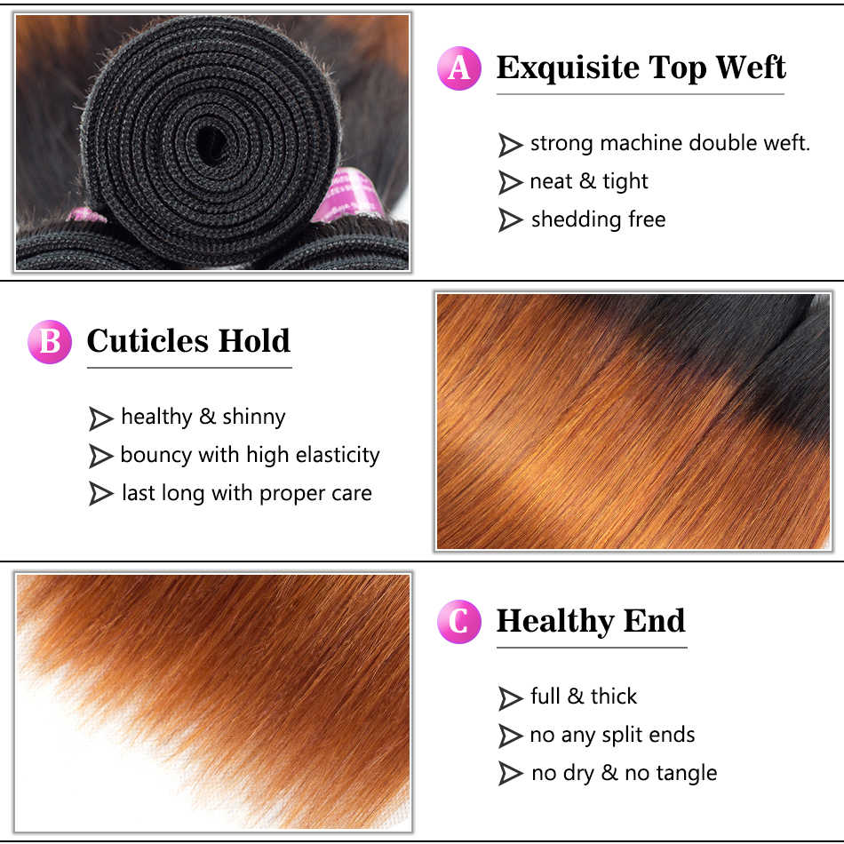 Soft Feel Hair Ombre Bundles With Closure 1B/30 Brown Brazilian Straight Human Hair Weave Bundles With Closure Remy 3/4 Bundles