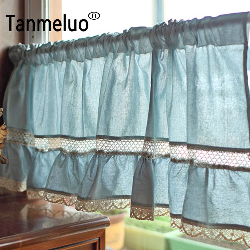 50x180cm blue kitchen curtain for home decoration coffee