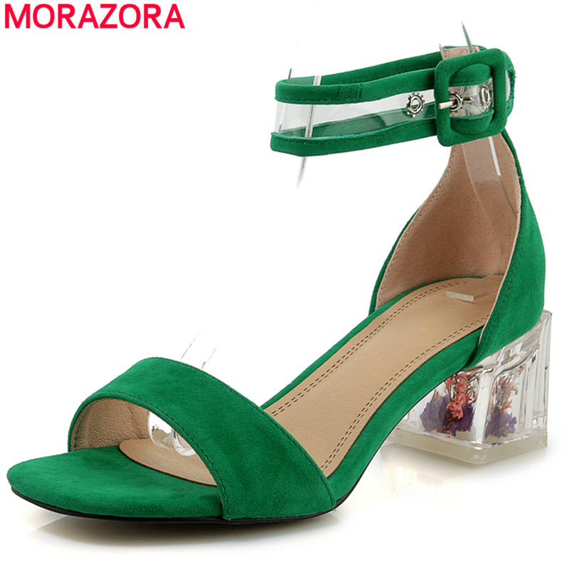 MORAZORA 2019 New fashion transparent high heels women sandals suede leather high quality summer party shoes ladies footwearMORAZORA 2019 New fashion transparent high heels women sandals suede leather high quality summer party shoes ladies footwear