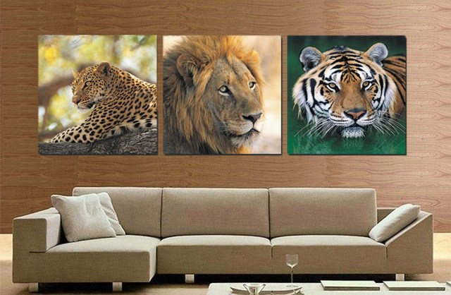 African Animal Prints Picture Leopard Lion Painting Face Tiger Head Oil Realist Canvas Wall Decor