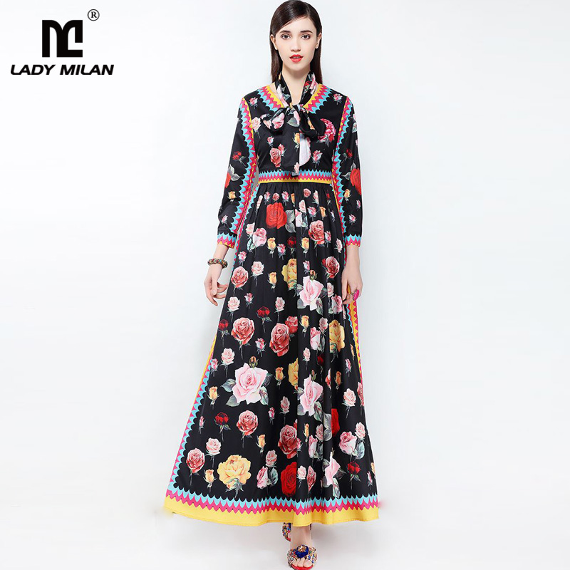 New Arrival 2018 Womens Sexy V Neck Floral Printed Sash Bow Belt Elegant Long Designer Casual Runway Dresses