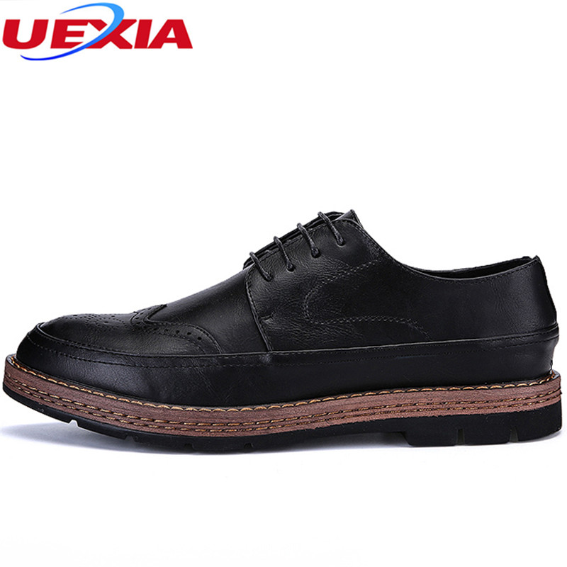 UEXIA New Luxury Vintage Men Business Dress Leather Office Casual Shoes Male Oxfords Flats Brogue Outdoor Lace-Up Wear-resistant
