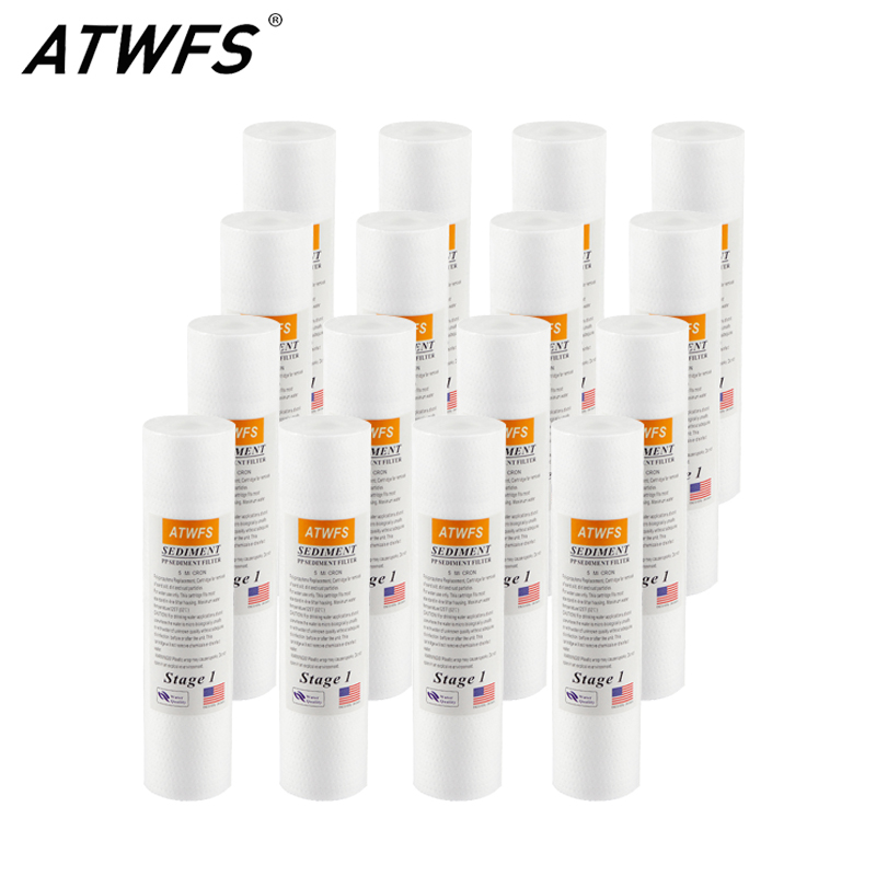 ATWFS 16pcs Water Filter Cartridge 10 Inch PP Sediment Filter 5 Microns Ppf For Osmosis Inversa 5 Etapas