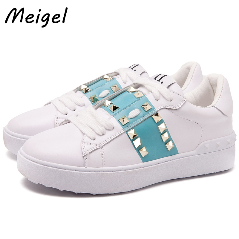 MEIGEL New Genuine Leather Flat Shoes For Women 2017 Autumn Fashion Rivet Casual White Loafers Shoes Lace-up Female Shoe 358 beango 2017 spring autumn casual women shoes lace up metal decor thick bottom leather shoe breathable travel loafers female