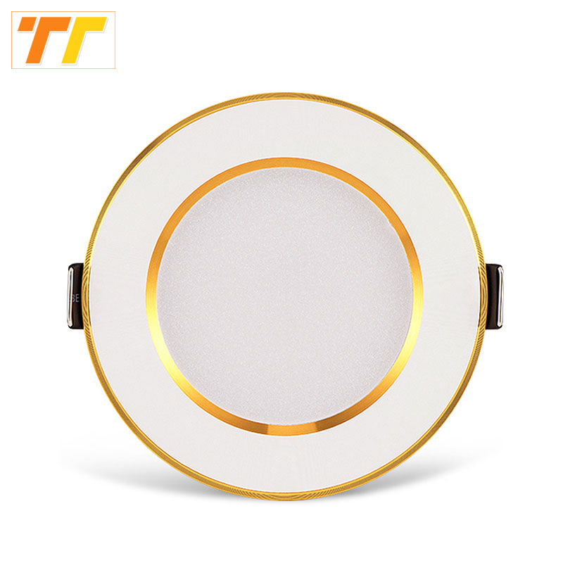 10pcs / pack led downlight 3w 5w 7w 9w 12w 15w 18w tak innfelte gull downlights høy kvalitet rundt panel lys gratis frakt