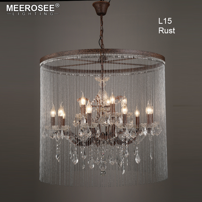 Vintage Crystal Chandelier Light Rust Luminaires Hanging Restro Black Lighting for Restaurant Hotel American Drop Lamparas one light frosted glass antique rust hanging lantern