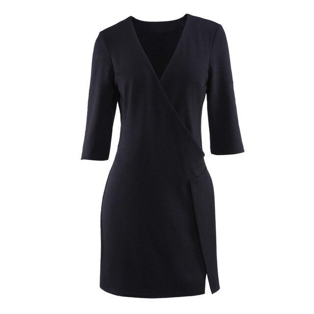 Wear to Work Dress European Boutique Womens Solid Half Sleeve V-Neck Slit Irregular Knee-Length Pencil Dress
