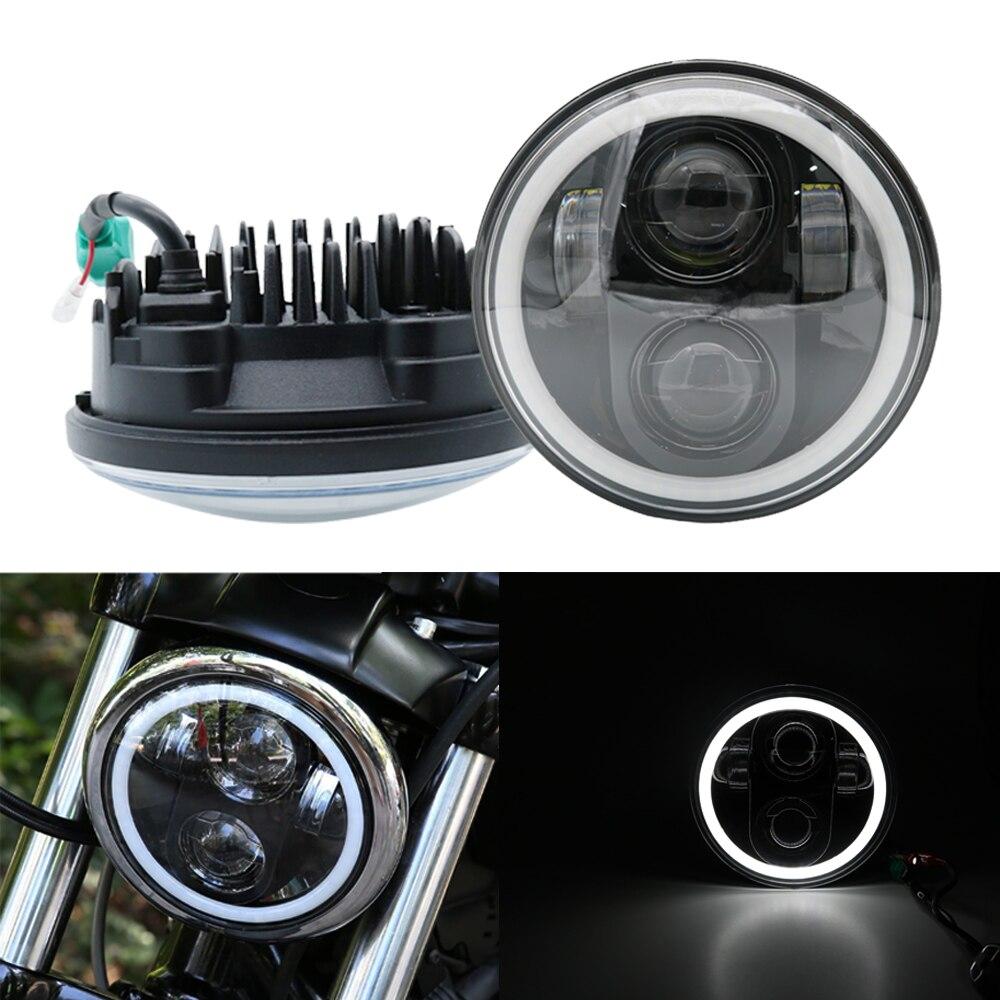 Phare 5.75 Pouces Moto Projecteur Daymaker led Halo Phare Pour Harley Honda VTX 1300 1800