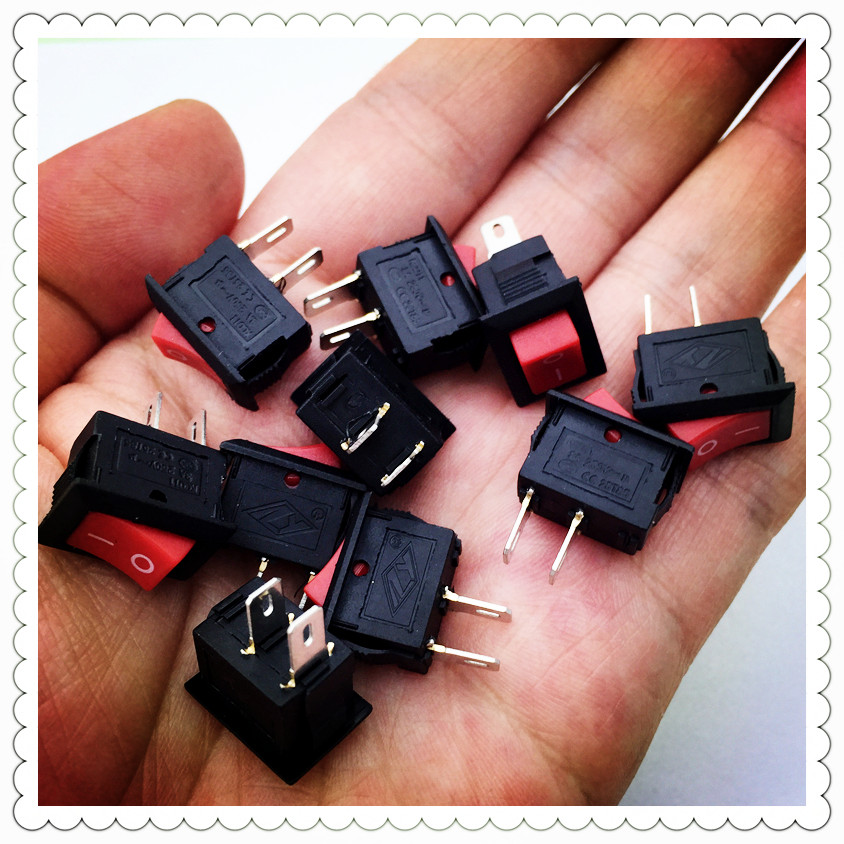 10pcs/lot RED 10*15mm SPST 2PIN ON/OFF G125 Boat Rocker Switch 3A/250V Car Dash Dashboard Truck RV ATV Home 2pcs lot red 4 pin light on off boat button switch 250v 16a ac amp 125v 20a