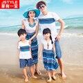 2016 Limited Ropa Decoración De Una Familia De Tres Familia Verano de Manga Corta T-shirt Madre E Hija Falda de La Playa de Bohemia