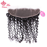 Queen Hair Products 13x4 Lace Frontal Brazilian Deep Wave Human Hair Natural Color #1B Free Part Swiss Lace 10 20 Free Shipping