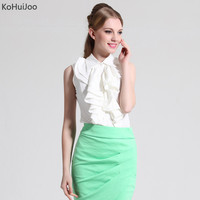 KoHuiJoo Solid Summer Sleeveless Shirts Women Solid Ruffles Button Slim Turn Down Collar Blouse Shirt White