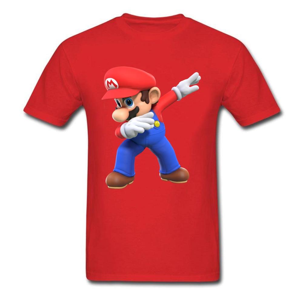 2018 Men T Shirts Round Neck Short Sleeve 100% Cotton super mario bros825yy T Shirt Printed On Top T-shirts Wholesale super mario bros825yy red