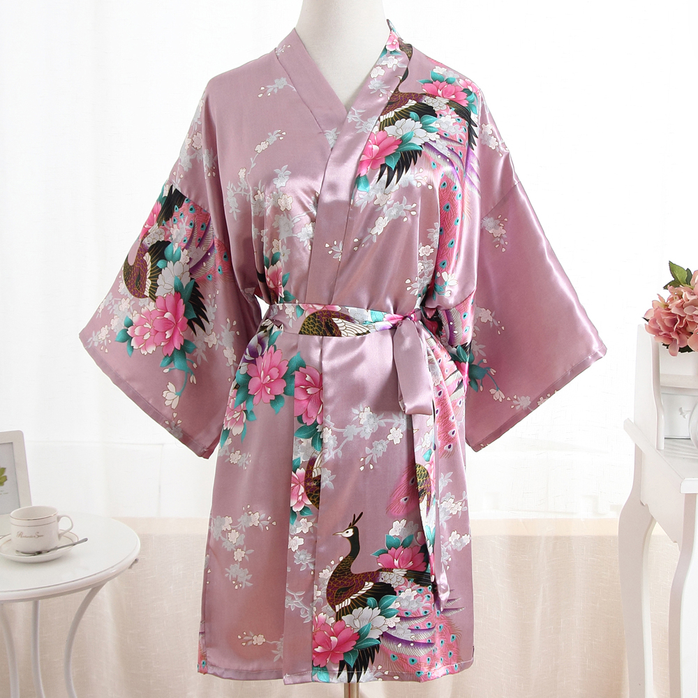Pink Bride Bridesmaid Wedding Robe Bath Gown Print Oversize XXXL Bathrobe Nightwear Negligee Women Sexy Flower Kimono With Belt
