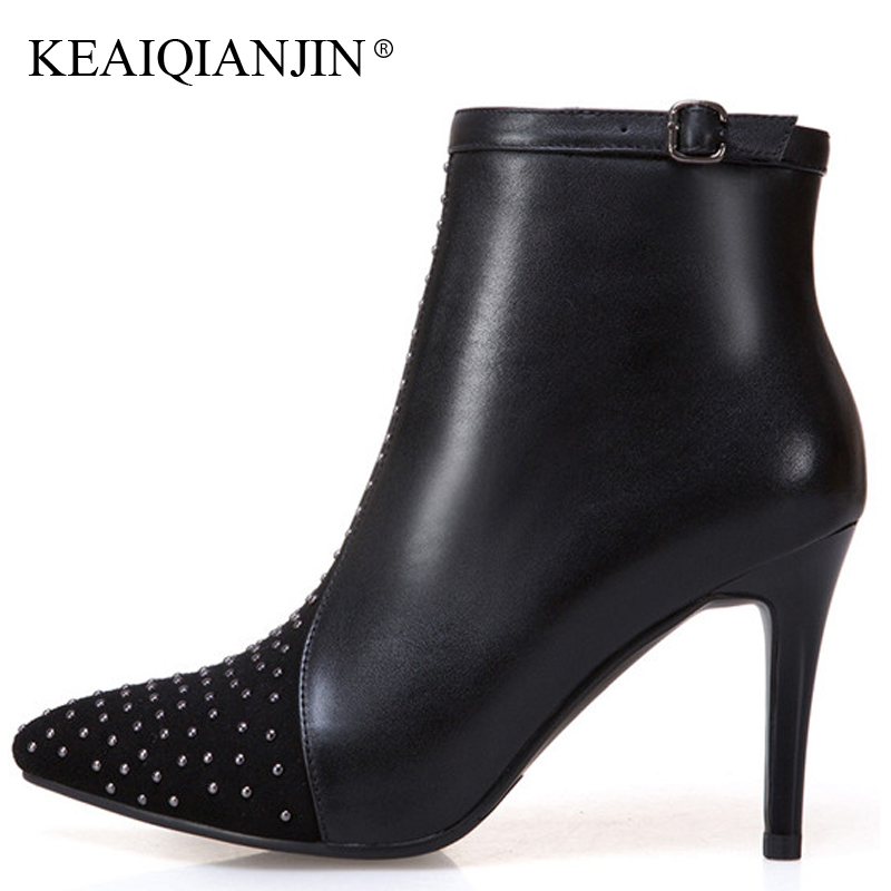 KEAIQIANJIN Women's Genuine Leather Chelsea Boots Winter Plus Size 43 High Heels Ankle Boots Rivet Genuine Leather Woman Shoes keaiqianjin woman rivet motorcycle boots autumn winter bottine plus size 33 43 shoes black red genuine leather ankle boots