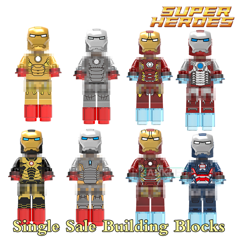 1pc Super Heroes Iron Man Building Blocks Mark 1 25 42 MARK43 45 Mark 31  Iron Patriot 034 Bricks Model Kids Action Figures Toys super heroes single sale iron man mark 21 5 41 2 45 40 43 iron patriot bricks building blocks children gift toys xh 027 034