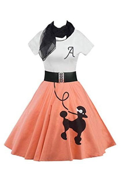 74164365e1e Retro Poodle Print High Waist Skater Vintage Rockabilly Swing Tee Cocktail  Dress Halloween Party Dress Costumes