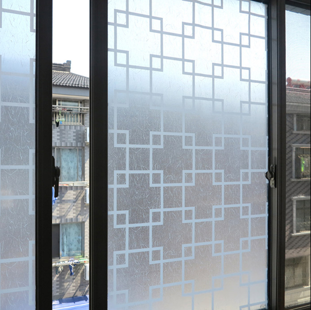Selfadhesive Window Film Frosted Privacy Decorative For Toilet Bathroom  Kitchen Office Windows(grid )Width