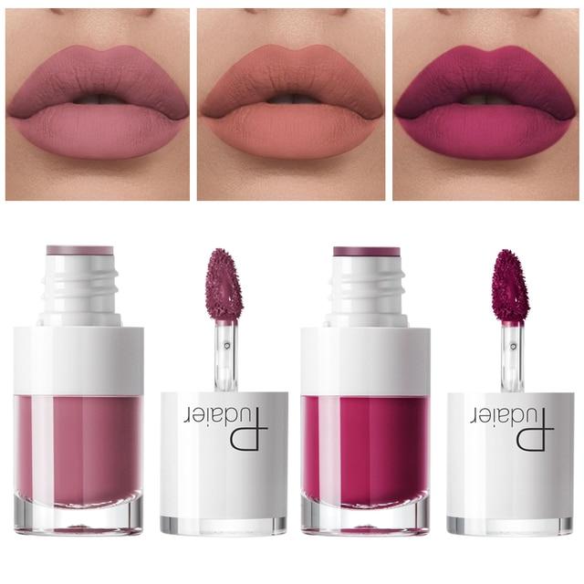 Pudaier Plumping brillo de labios mate impermeable mate líquido lápiz labial labios tinte rojo mancha no-Stick brillo de labios Rouge un principado de cosméticos