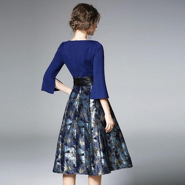 Bonnie Thea Autumn women's midi dress elegant blue Jacquard dress female long Sleeve ladies dresses Evening party dress clothes 4