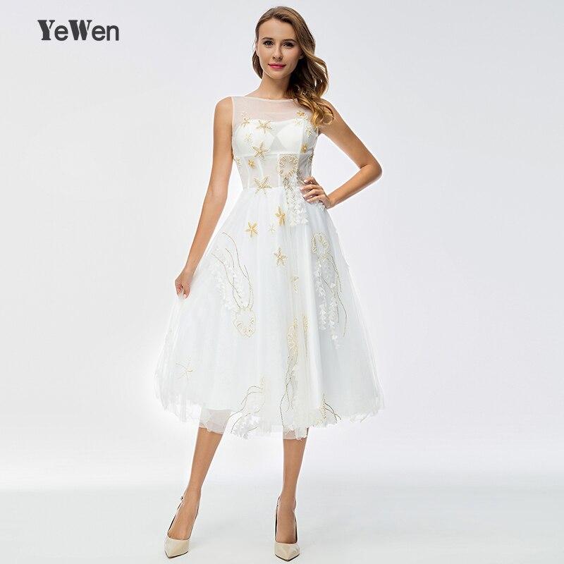 Yewen 2018 White Crystal Beading Illusion Sleeveless Prom Dresses