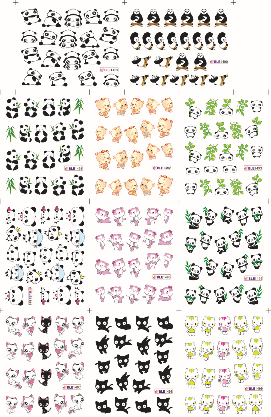 11 Designs in 1 Cute Cat Panda Pattern Water Transfers Nail Sticker ...