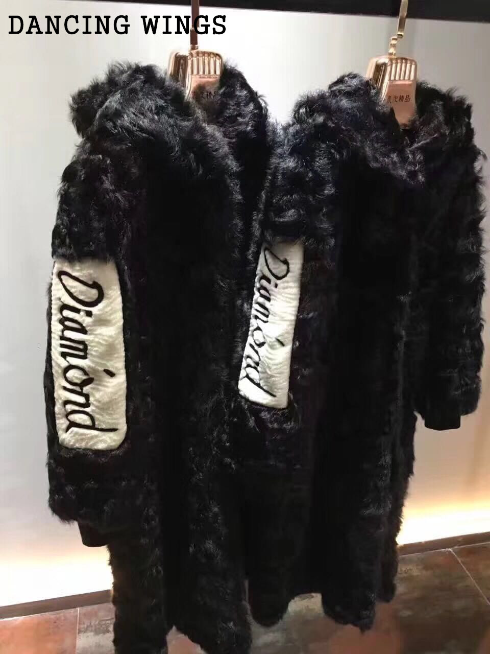 Womens Lady Winter Long Real Lamb Fur Coat Back Letter Print Natural Fur Hooded Jacket Genuine Furs Outerwear